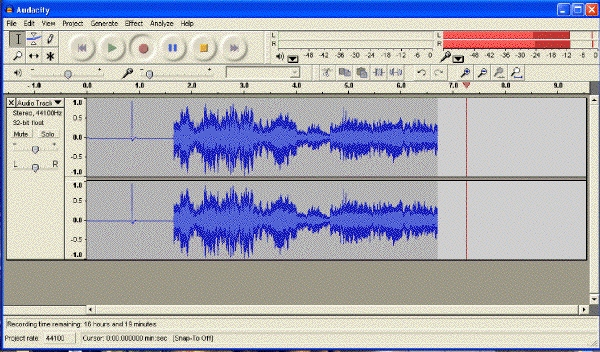 Audacity Waveform:  Just Right