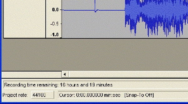 Audacity's recording time