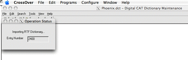 Importing the Phoenix Theory Dictionary:  Success!