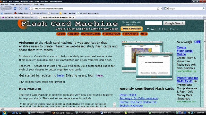 flashcard Machine Home Page