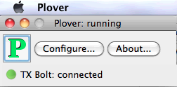 Plover on Mac:  Running