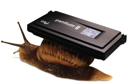 The Pentium II -- being carried by a snail in an old Apple print ad